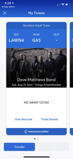 Dave Matthews Band - Gorge Amphitheater, Lawn - 2 nights w. Two tickets/night for Sale in Los Angeles, CA