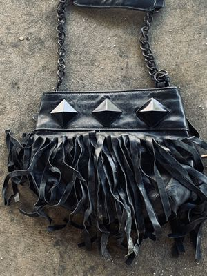 Black Leather Purse w/ Leather Fringe for Sale in Los Angeles, CA