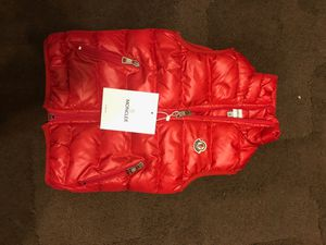 Moncler red shine gloss jacket coat vest toddler kids 2 years old fur for Sale in San Francisco, CA