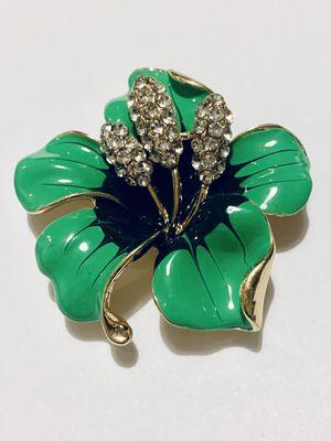 Green Enamel Flower Rhinestone Brooch for Sale in Mansfield, TX