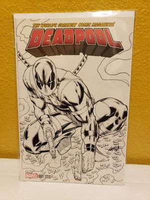 Deadpool 001 Rob Liefeld black and white sketch variant (2016) selling for only $15. for Sale in Carson, CA
