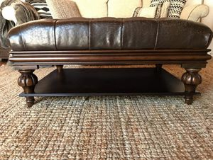 Distressed Leather Ottoman Coffee Table for Sale in Torrance, CA