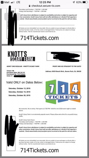 2 tickets for knotts scary farm for Sale in San Diego, CA