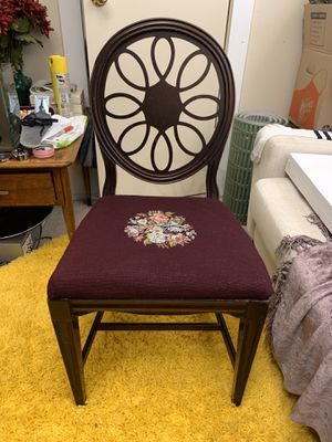 Antique side chair with Embroidered seat for Sale in Seattle, WA