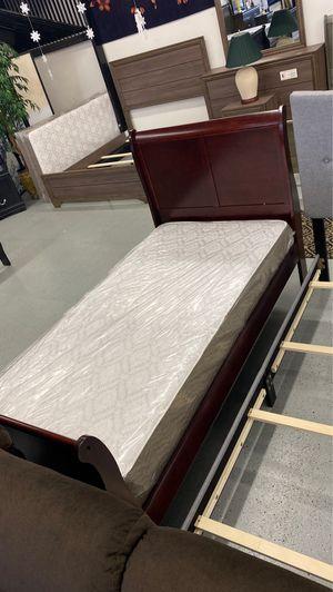 Furniture mattress- twin cherry sleigh bed frame + mattress for Sale in North Highlands, CA
