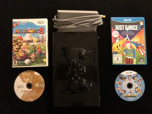 Nintendo Wii U Black 32gb Console + 1 Pro Controller + 7 Games(3 Install 4 Disc) for Sale in Atlanta, GA
