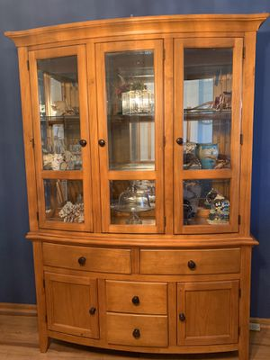 Solid Wood Lighted Buffet Hutch for Sale in Orland Hills, IL