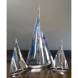 """3 1930's Art Deco Chrome Sailboats Nautical Sculptures 16"""" tall/8"""" tall for Sale in Crystal Lake, IL"""