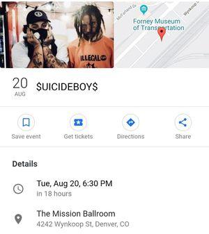 Suicide boys concert ticket for Sale in Denver, CO