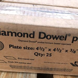 "New Stainless Steel Diamond Dowel Plates 4 1/2"" x 4 1/2"" x 3/8"" Formed Construction Joints for Sale in Quinton, VA"