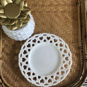 Vintage milk glass lattice pattern plate for Sale in Virginia Beach, VA