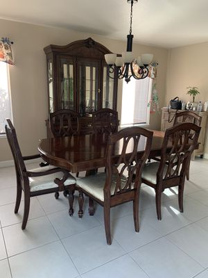 Kitchen table, 6 chairs, & china cabinet. for Sale in Hollister, CA