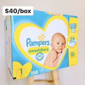 Size 1 (8-14 lbs) Pampers Swaddlers (198 baby diapers) *PROMO* BUY ANY 2 PAMPERS BRAND BIG BOXES, GET 1 FREE HUGGIES TUB 64ct for Sale in Anaheim, CA