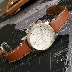 BURRBERRY BU7817 Women Wrist Watch Swiss Chronograph Brown Leather Strap 42mm Sapphire Crystal for Sale in Portland,  OR