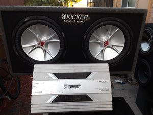 "2 KICKERS 12"" CVR Y AMP PERFORMANCE TEKNIQUE de 2400 watts 1 ohms stable 2 channels... for Sale in Hawthorne, CA"