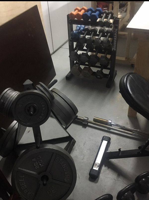 weights, barbell, kettlebells and bench