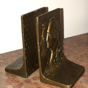 Washing And Lincoln Petitie Brass Bookends for Sale in Newtown, CT