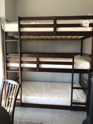 Triple bunk bed with mattresses for Sale in Hesperia, CA