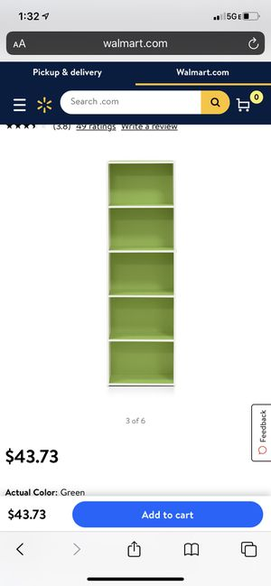 2 ( 90$ value) unopened new in box - green/white furring 5 tier open bookcases for Sale in Southwest Ranches, FL