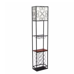 Elegant Designs 63 in. 1-Light Black Etagere Organizer Wood Accented Storage Shelf and Wine Rack Floor Lamp with Linen Shade for Sale in Dallas,  TX