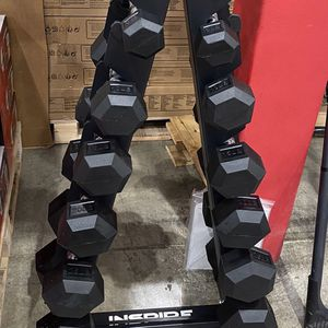Rubber Dumbbells With Rack 5-30lbs for Sale in Aloha, OR