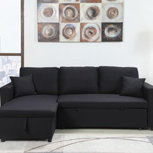 Brand New BLACK Linen Pull Out Sectional Sofa for Sale in Pomona, CA