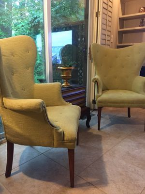 Pair light green tufted mid century modern wingback armchairs for Sale in Reston, VA