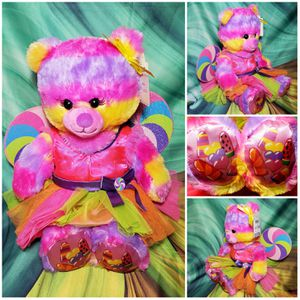 Build A Bear Tropical Popsicle Teddy Tie Dye Rainbow w/ Lolly Pop Fairy Outfit for Sale in Dale, TX