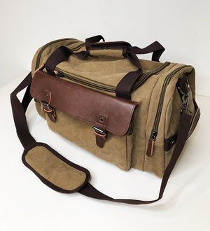 "(NEW) $20 Mens Vintage Travel Duffel Bag Hand Gym Sports Shoulder Strap Backpack 18x9x11"" for Sale in Whittier, CA"