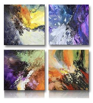 Abstract Wall Art Canvas 4 Panels Blue Red Purple Yellow White Black Green Orange Modern Original for Sale in Fuquay Varina, NC