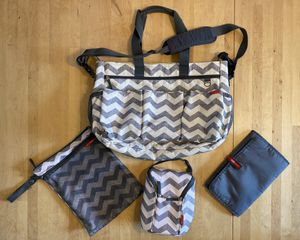 Skip Hop Duo Double Diaper Bag + matching wet bag & insulated bottle bag for Sale in Seattle, WA