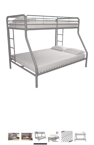 Twin Over Full Bunk Bed with Metal Frame and Ladder, Silver for Sale in Berwyn, IL