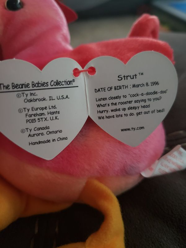 1996 Ty Beanie babies RETIRED Strut Rooster