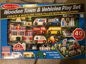 Melissa & Doug Wooden town & vehicle play set. for Sale in Irvine, CA