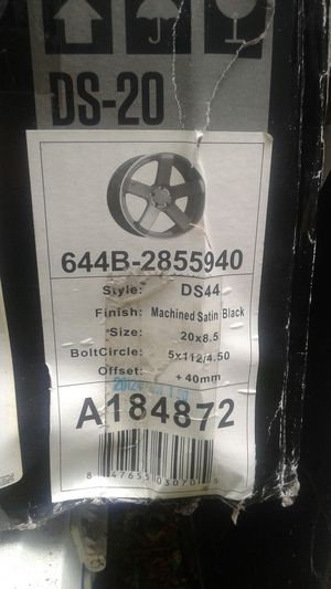 Brand New in boxes 4 Machined Satin Blk RIMS 20x8.5 style D544 for Sale in Puyallup, WA