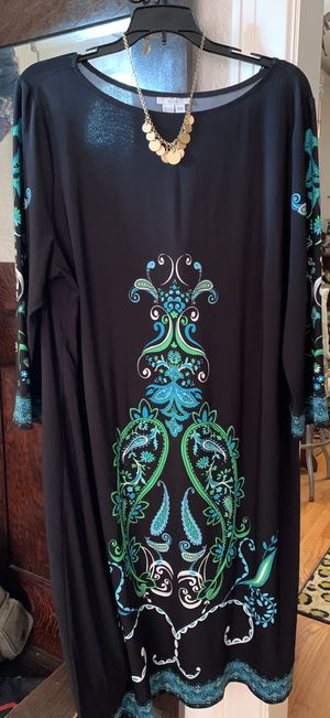 Black Paisley Dress with Coin Necklace for Sale in Midland, TX