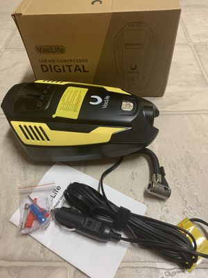 Air Compressor Tire Inflator, DC 12V Air Pump, Auto Portable Air Compressor for Car Tires with LED Light & 11.5 Feet Long Power Cord,Yellow for Sale in El Cajon, CA