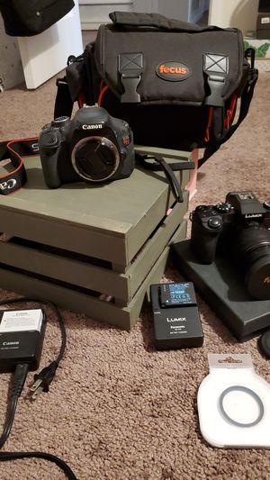 Canon EOS Rebel t3i + Panasonic Lumix DMC-G7 DSLR for Sale in Fresno, CA