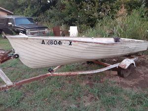 Boat. 14' aluminum V bottom. With trailer. for Sale in Arkansas City, KS
