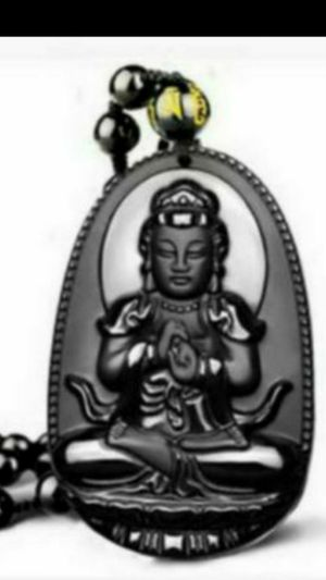 """Pretty Natural obsidian lady Buddha hand carved amulet lucky energy healing prayer pendant bead cord necklace 32""""- adjustable for Sale in El Sobrante, CA"""