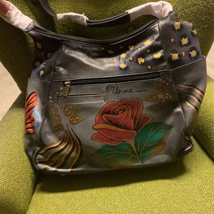 Hand Painted Leather Handbag By Anna for Sale in Oceanside, CA
