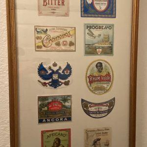 Custom Framed Vintage alcohol bottle labels for Sale in Las Vegas, NV