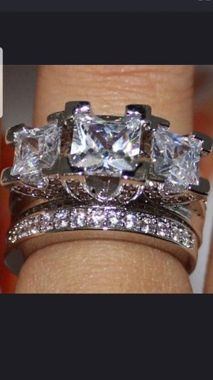 Sterling silver white sapphire ring set sizes 7,8,9 for Sale in Dundalk, MD