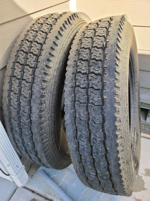I have 2 tires for semi truck flat bed trailer Ironman 285/75R2.45 I-208 $200 For each tire OBO for Sale in Eagle Mountain, UT