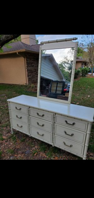 Vintage Faux Bamboo 9 Drawer Lacquered Dresser w/mirror for Sale in Orlando, FL
