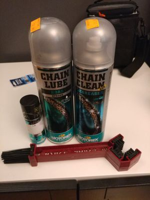 Motorex motorcycle chain cleaner and lube and brush for Sale in Framingham, MA
