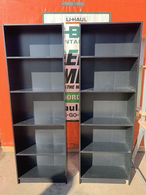 Set of 2 Black bookcases. 5 shelves for Sale in Scottsdale, AZ