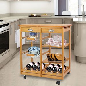 Rolling Wood Kitchen Island Storage Trolley Utility Cart Rack w/Storage Drawers/Baskets Dining Stand w/Wheels Countertop for Sale in Downey, CA