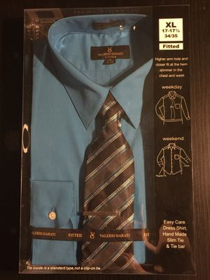 NEW Valerio Garati Blue Collar Dress Shirt with Slim Tie, Fitted for Sale in La Puente, CA