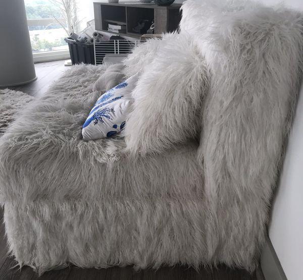 Pottery Barn Kids: White Shag Sleeper Sofa For Sale